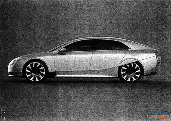 斯拉Model S競爭的電動汽車.從外媒獲得的設計圖判斷該車神似特高清圖片